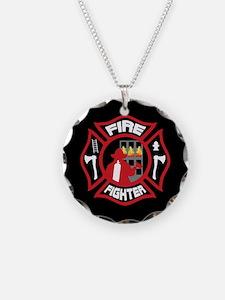 Modern Firefighter Badge Necklace