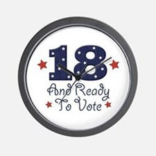 18 And Ready To Vote Wall Clock