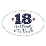 18 And Ready To Vote Oval Sticker (50 pk)