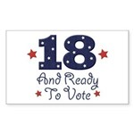 18 And Ready To Vote Rectangle Sticker 10 pk)