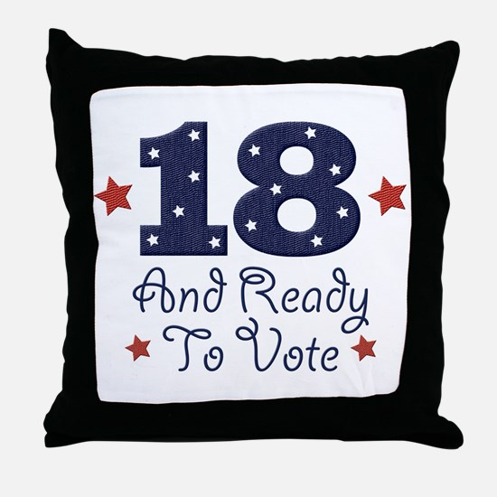 18 And Ready To Vote Throw Pillow