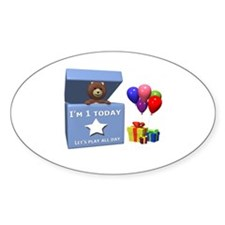 I'm 1 today let's play all day Oval Decal