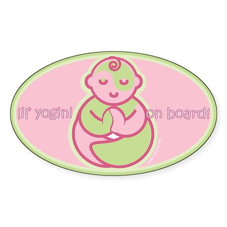 Lil' Yogini On Board! Oval Sticker