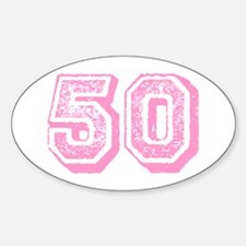 Pink 50 Years Old Birthday Oval Decal