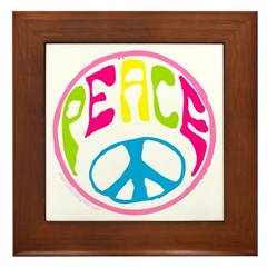 Hippie Peace Sign Framed Tile