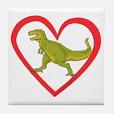 Heart Tyrannosaurus Tile Coaster