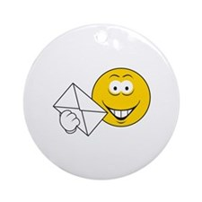 Postal Smiley Face Ornament (Round)