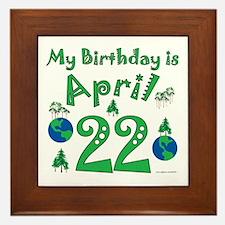 Earth Day Birthday April 22nd Framed Tile