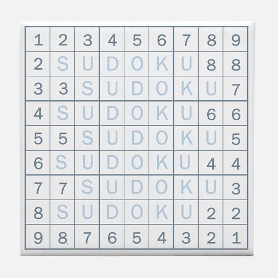 Shade of Blue Sudoku! Tile Coaster