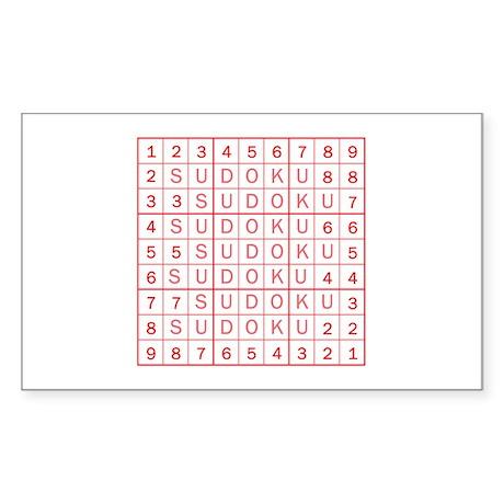 Red Sudoku! Rectangle Sticker