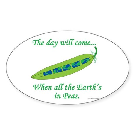 Earth Peace Oval Sticker (10 pk)