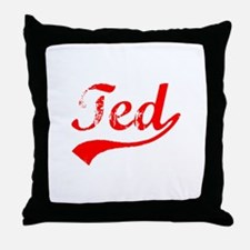 Vintage Ted (Red) Throw Pillow