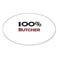 100 Percent Butcher Oval Decal