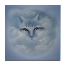 Cat In Clouds Fantasy Tile Coaster