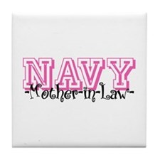 NAVY MotherNlaw- Jersey Style Tile Coaster