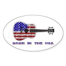 Born In The USA Guitar Oval Decal