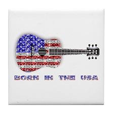 Born In The USA Guitar Tile Coaster