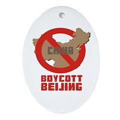 Boycott Beijing Oval Ornament