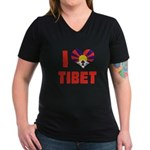 I Love Tibet Women's V-Neck Dark T-Shirt