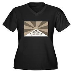 Tibetan Flag Women's Plus Size V-Neck Dark T-Shirt