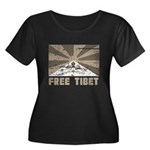 Free Tibet Women's Plus Size Scoop Neck Dark T-Shi