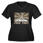 Free Tibet Women's Plus Size V-Neck Dark T-Shirt
