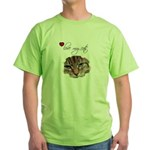 LOVE MY CATS Green T-Shirt