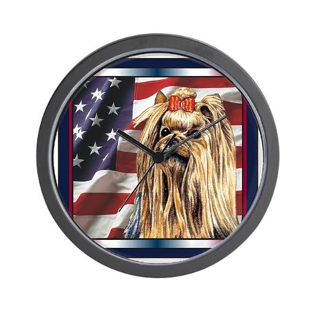 Yorkie Terrier Dog Patriotic USA Flag Wall Clock