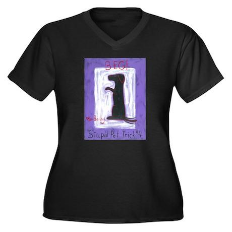 Beg - Stupid Women's Plus Size V-Neck Dark T-Shirt