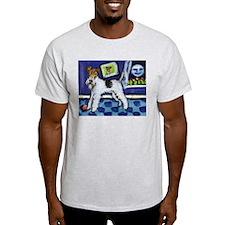 WIRE HAIRED FOX TERRIER art Ash Grey T-Shirt