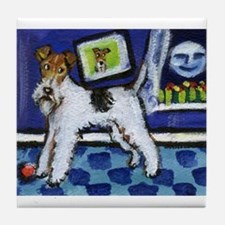 WIRE HAIRED FOX TERRIER art Tile Coaster