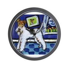WIRE HAIRED FOX TERRIER art Wall Clock