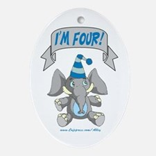I'm Four (blue elephant) Oval Ornament