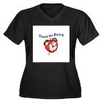 Time to Bead Women's Plus Size V-Neck Dark T-Shirt