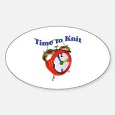 Knitting - Time to Knit Oval Decal