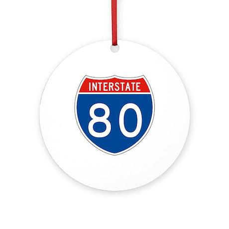 Interstate 80, USA Ornament (Round)