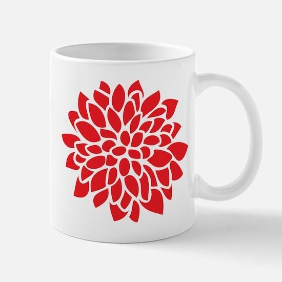 Bold Red Graphic Flower Modern Mugs