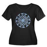 Flowerflake Women's Plus Size Scoop Neck Dark T-Sh
