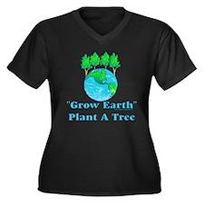 Grow Earth Women's Plus Size V-Neck Dark T-Shirt
