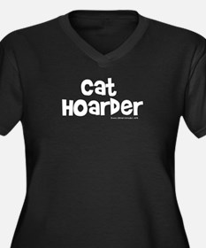 Cat Hoarder Women's Plus Size V-Neck Dark T-Shirt