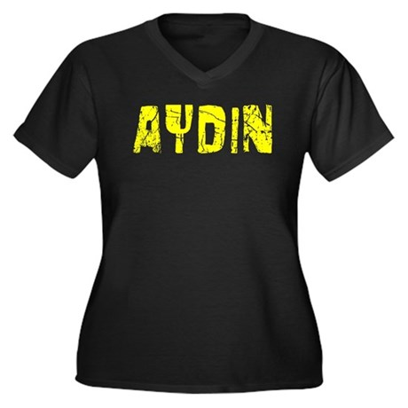 Aydin Faded (Gold) Women's Plus Size V-Neck Dark T