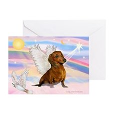 Dachshund / Angel (brn) Greeting Card