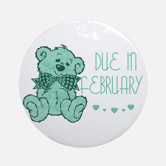 Green Marble Teddy Due February Ornament (Round)