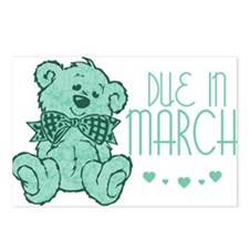 Green Marble Teddy Due In March Postcards (Package