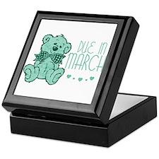 Green Marble Teddy Due In March Keepsake Box