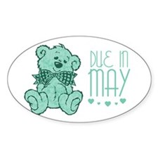 Green Marble Teddy Due In May Oval Decal