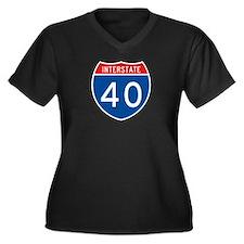 Interstate 40, USA Women's Plus Size V-Neck Dark T