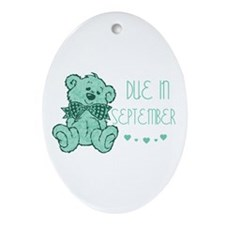 Green Marble Teddy Due September Oval Ornament