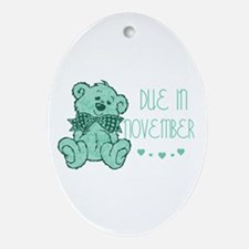Green Marble Teddy Due November Oval Ornament