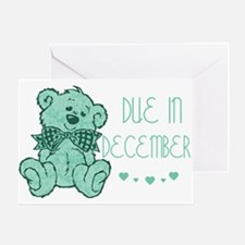 Green Marble Teddy Due December Greeting Card
